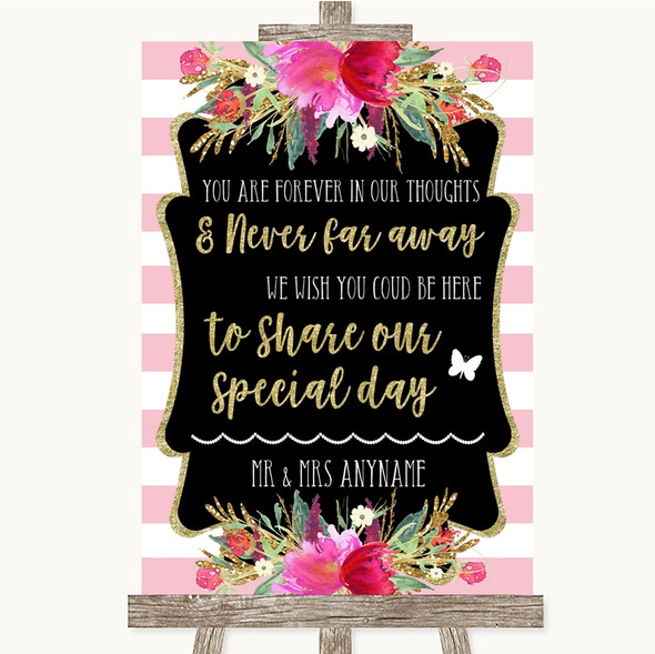 Gold & Pink Stripes In Our Thoughts Personalised Wedding Sign