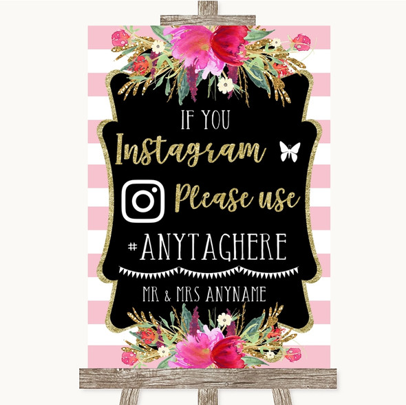 Gold & Pink Stripes Instagram Hashtag Personalised Wedding Sign