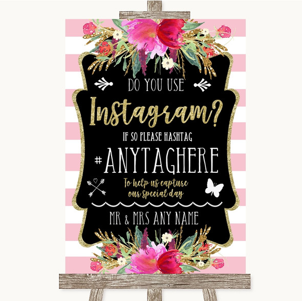 Gold & Pink Stripes Instagram Photo Sharing Personalised Wedding Sign