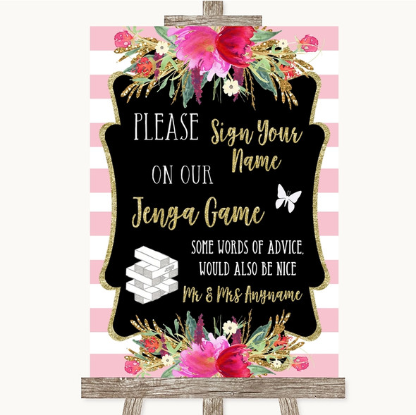 Gold & Pink Stripes Jenga Guest Book Personalised Wedding Sign
