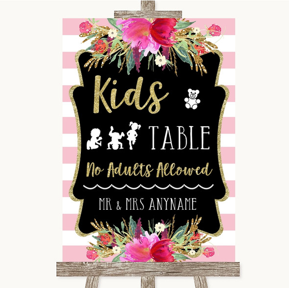 Gold & Pink Stripes Kids Table Personalised Wedding Sign