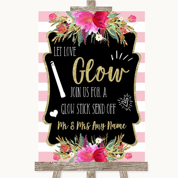 Gold & Pink Stripes Let Love Glow Glowstick Personalised Wedding Sign