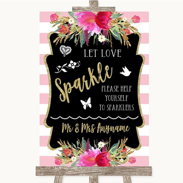 Gold & Pink Stripes Let Love Sparkle Sparkler Send Off Personalised Wedding Sign