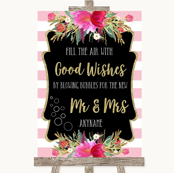 Gold & Pink Stripes Blow Bubbles Personalised Wedding Sign