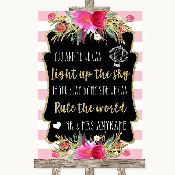 Gold & Pink Stripes Light Up The Sky Rule The World Personalised Wedding Sign