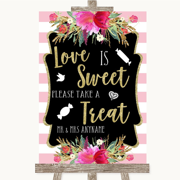 Gold & Pink Stripes Love Is Sweet Take A Treat Candy Buffet Wedding Sign