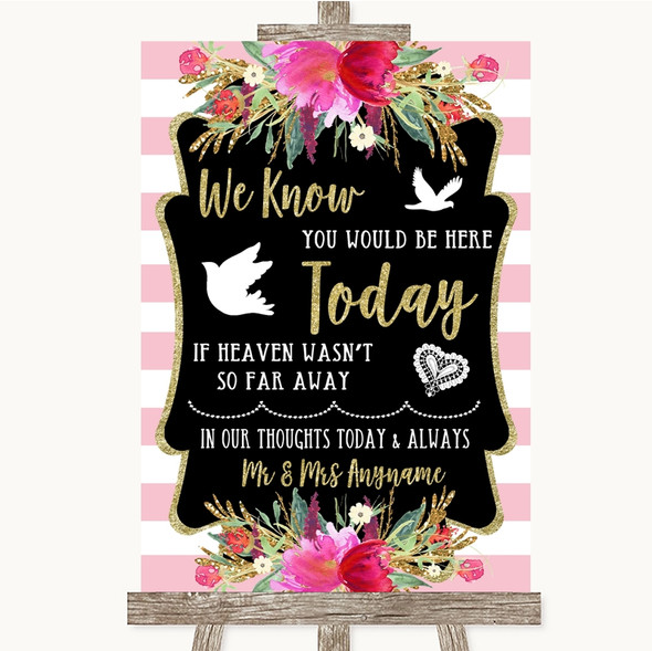 Gold & Pink Stripes Loved Ones In Heaven Personalised Wedding Sign