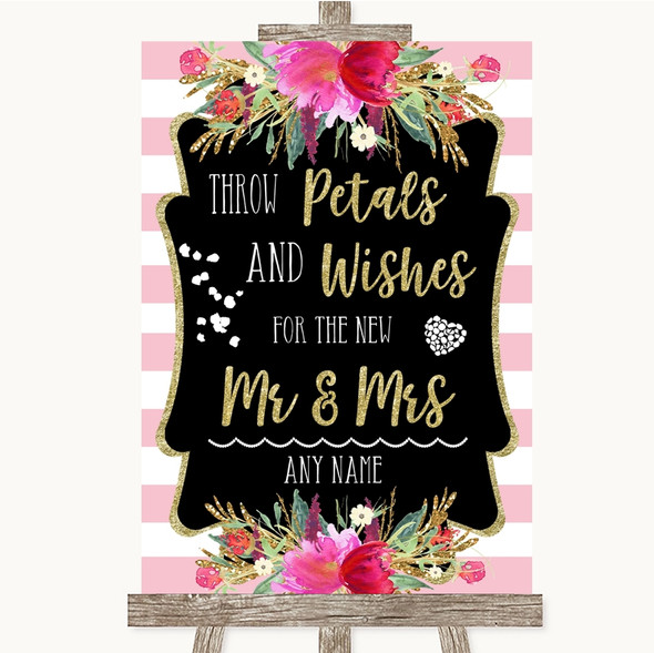 Gold & Pink Stripes Petals Wishes Confetti Personalised Wedding Sign