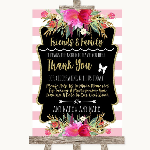 Gold & Pink Stripes Photo Guestbook Friends & Family Personalised Wedding Sign