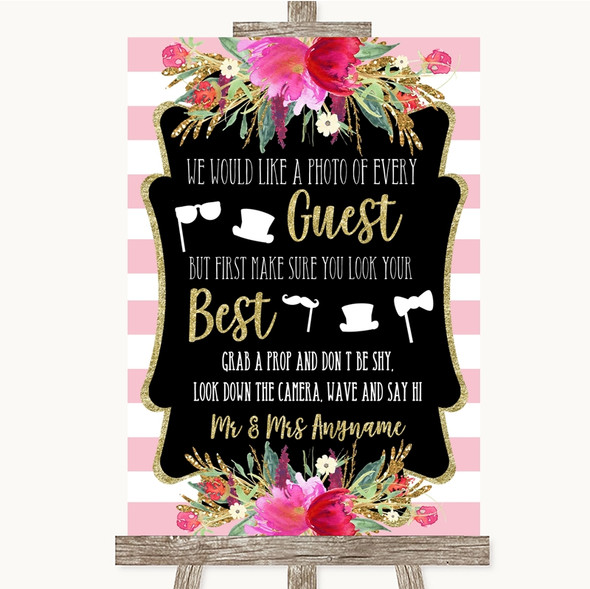 Gold & Pink Stripes Photo Prop Guestbook Personalised Wedding Sign