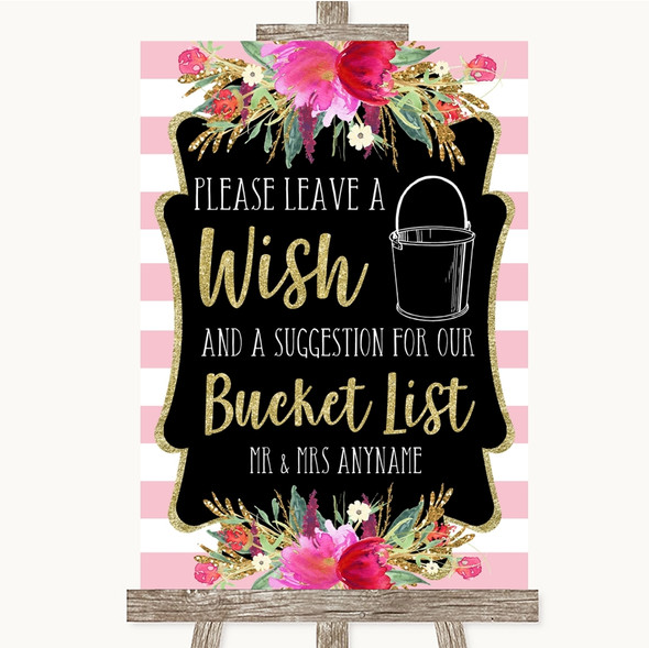 Gold & Pink Stripes Bucket List Personalised Wedding Sign