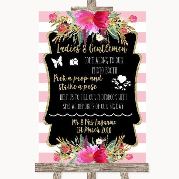 Gold & Pink Stripes Pick A Prop Photobooth Personalised Wedding Sign