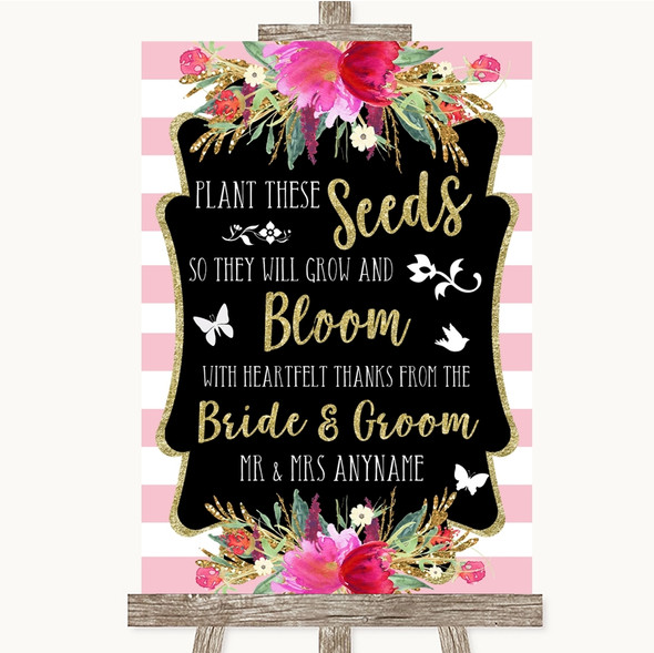 Gold & Pink Stripes Plant Seeds Favours Personalised Wedding Sign