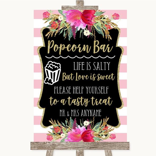 Gold & Pink Stripes Popcorn Bar Personalised Wedding Sign