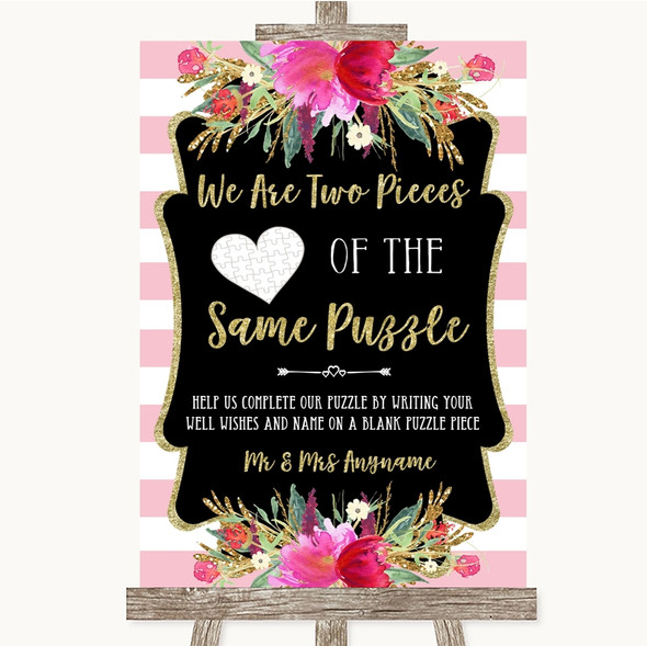 Gold & Pink Stripes Puzzle Piece Guest Book Personalised Wedding Sign