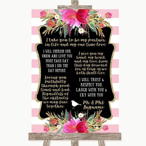 Gold & Pink Stripes Romantic Vows Personalised Wedding Sign