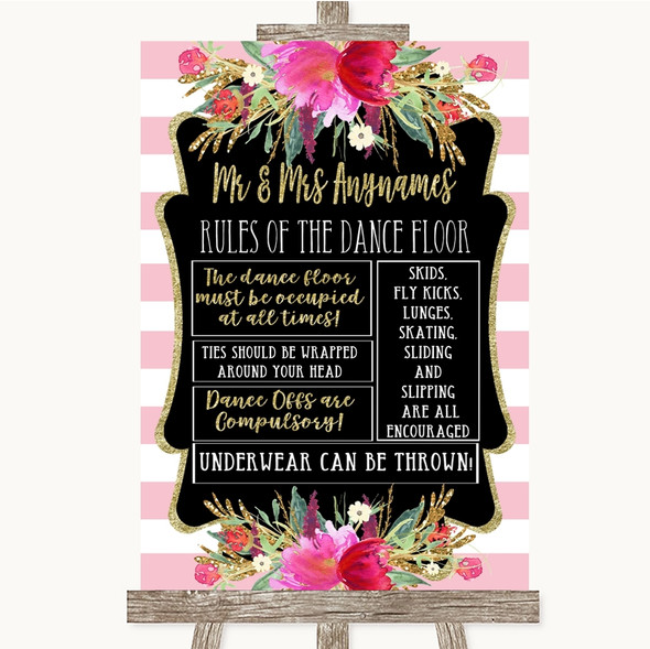 Gold & Pink Stripes Rules Of The Dance Floor Personalised Wedding Sign