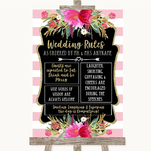 Gold & Pink Stripes Rules Of The Wedding Personalised Wedding Sign