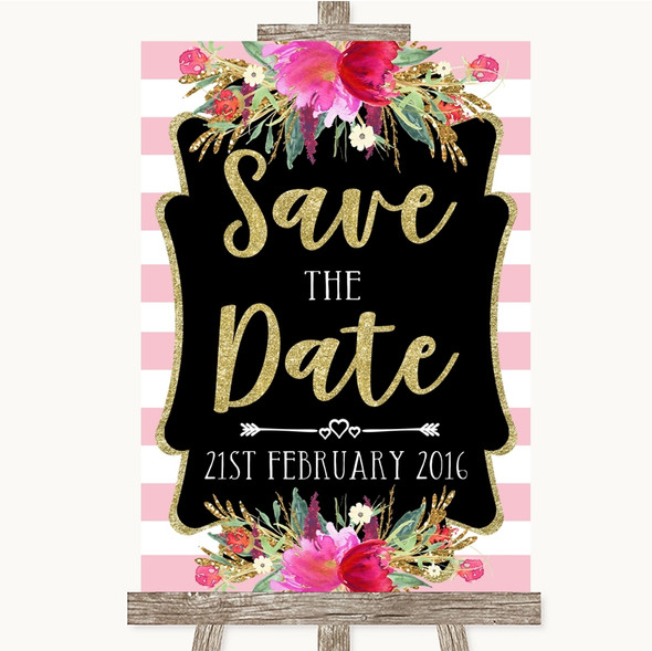 Gold & Pink Stripes Save The Date Personalised Wedding Sign
