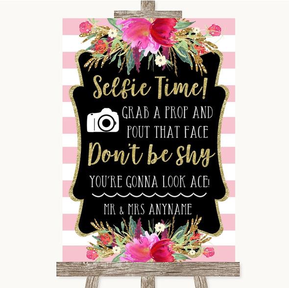 Gold & Pink Stripes Selfie Photo Prop Personalised Wedding Sign