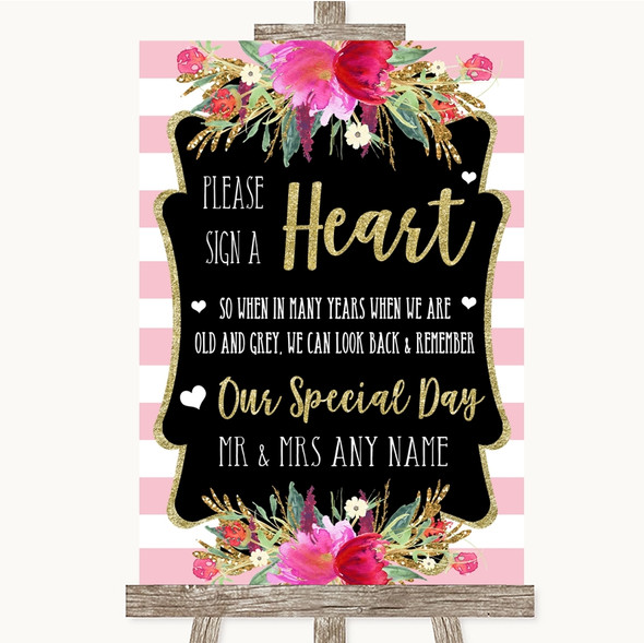 Gold & Pink Stripes Sign a Heart Personalised Wedding Sign