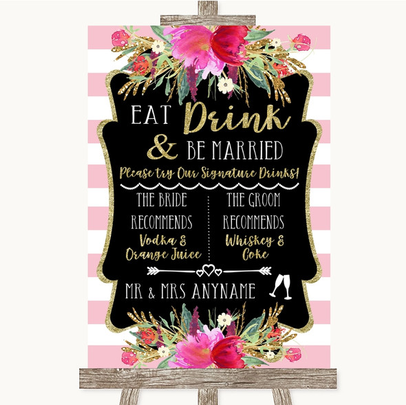 Gold & Pink Stripes Signature Favourite Drinks Personalised Wedding Sign