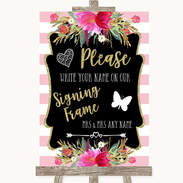 Gold & Pink Stripes Signing Frame Guestbook Personalised Wedding Sign