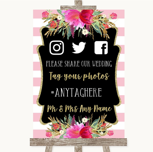 Gold & Pink Stripes Social Media Hashtag Photos Personalised Wedding Sign