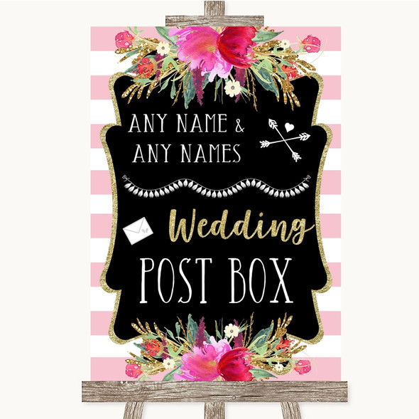 Gold & Pink Stripes Card Post Box Personalised Wedding Sign