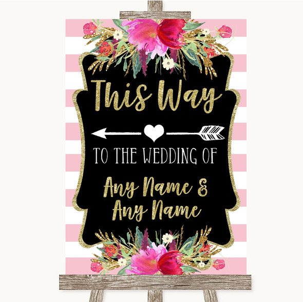 Gold & Pink Stripes This Way Arrow Left Personalised Wedding Sign