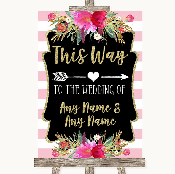 Gold & Pink Stripes This Way Arrow Right Personalised Wedding Sign