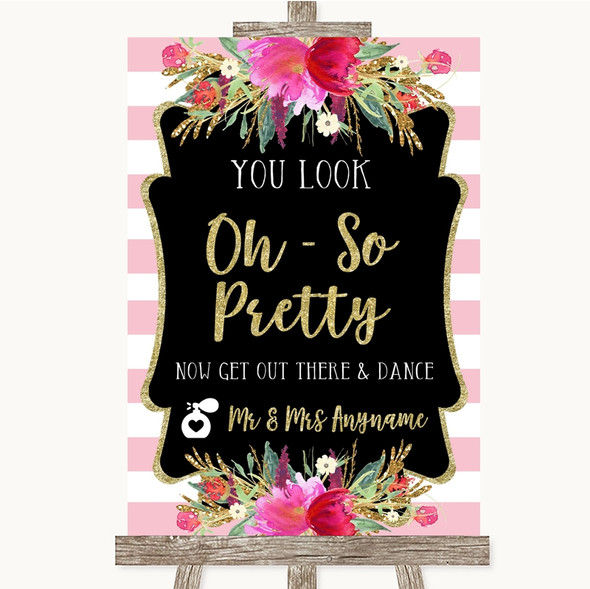 Gold & Pink Stripes Toilet Get Out & Dance Personalised Wedding Sign