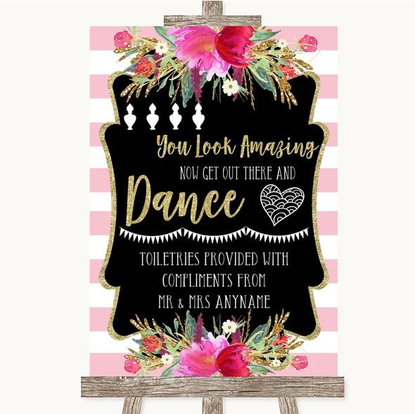 Gold & Pink Stripes Toiletries Comfort Basket Personalised Wedding Sign