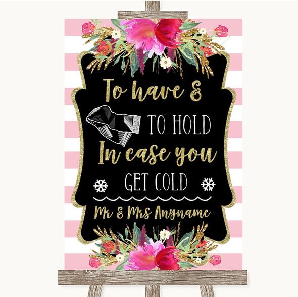 Gold & Pink Stripes Wedding Blanket Scarf Personalised Wedding Sign