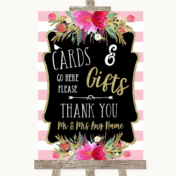 Gold & Pink Stripes Cards & Gifts Table Personalised Wedding Sign
