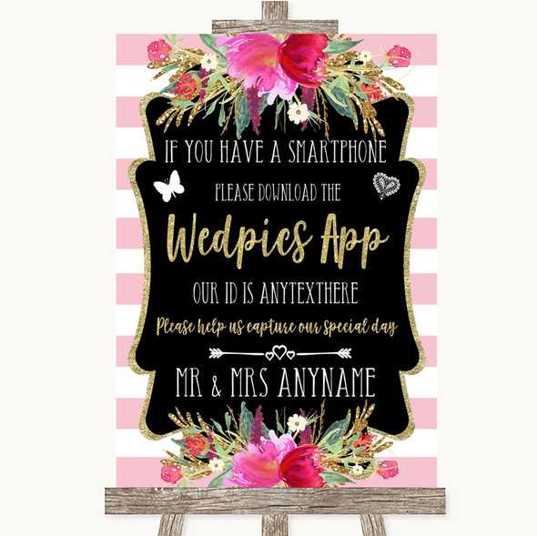 Gold & Pink Stripes Wedpics App Photos Personalised Wedding Sign