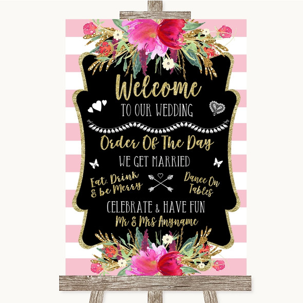 Gold & Pink Stripes Welcome Order Of The Day Personalised Wedding Sign