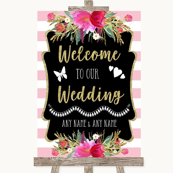 Gold & Pink Stripes Welcome To Our Wedding Personalised Wedding Sign