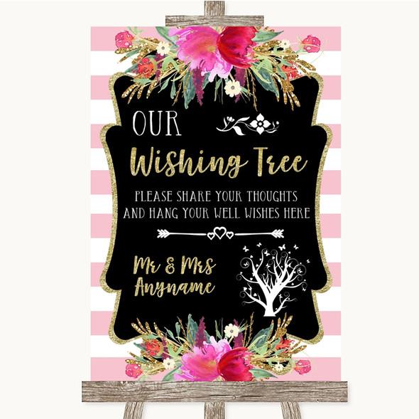 Gold & Pink Stripes Wishing Tree Personalised Wedding Sign