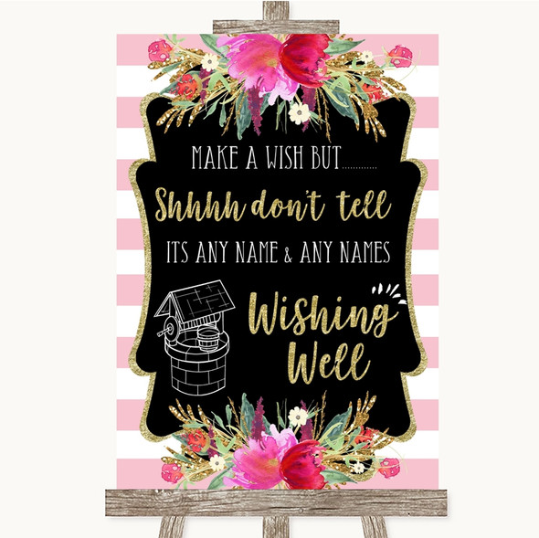 Gold & Pink Stripes Wishing Well Message Personalised Wedding Sign