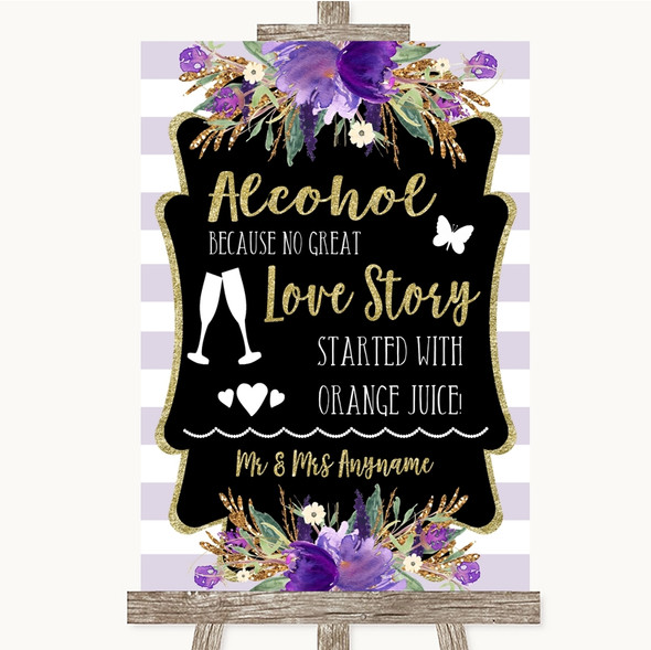 Gold & Purple Stripes Alcohol Bar Love Story Personalised Wedding Sign
