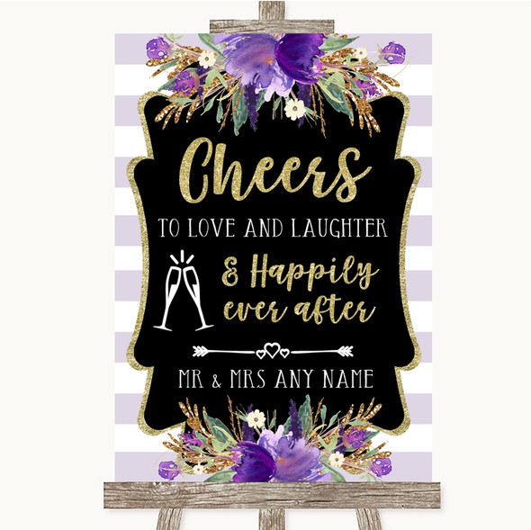 Gold & Purple Stripes Cheers To Love Personalised Wedding Sign