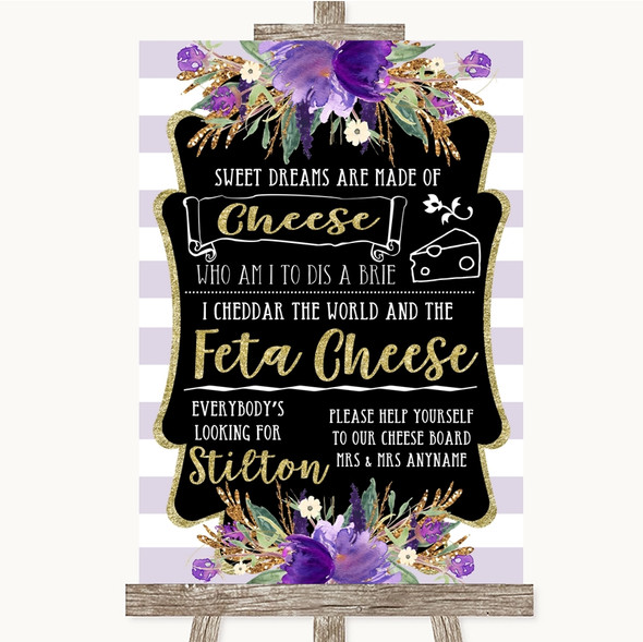 Gold & Purple Stripes Cheeseboard Cheese Song Personalised Wedding Sign