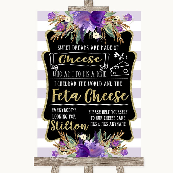 Gold & Purple Stripes Cheesecake Cheese Song Personalised Wedding Sign