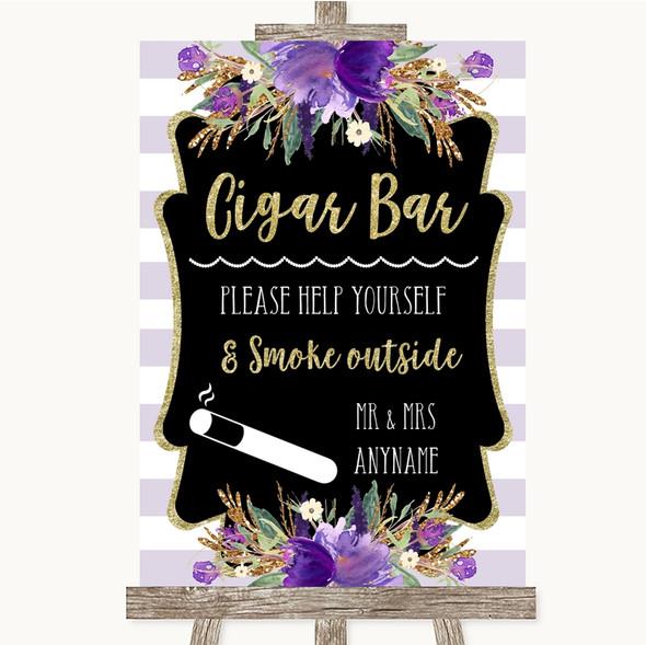 Gold & Purple Stripes Cigar Bar Personalised Wedding Sign
