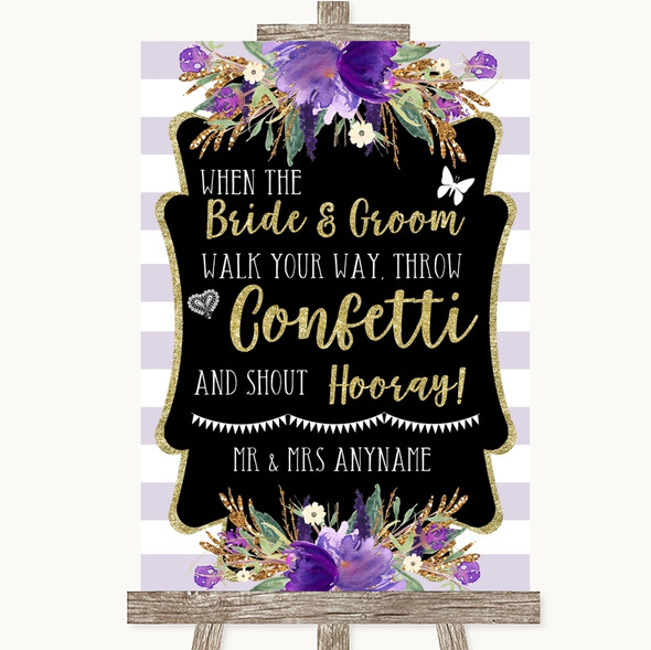 Gold & Purple Stripes Confetti Personalised Wedding Sign