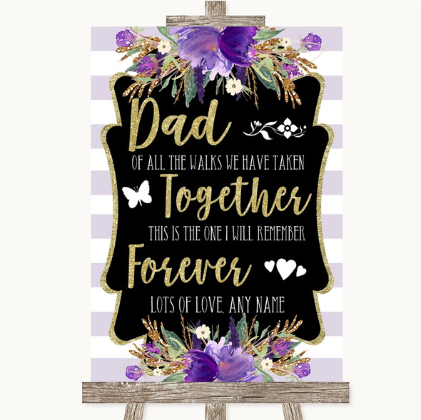 Gold & Purple Stripes Dad Walk Down The Aisle Personalised Wedding Sign