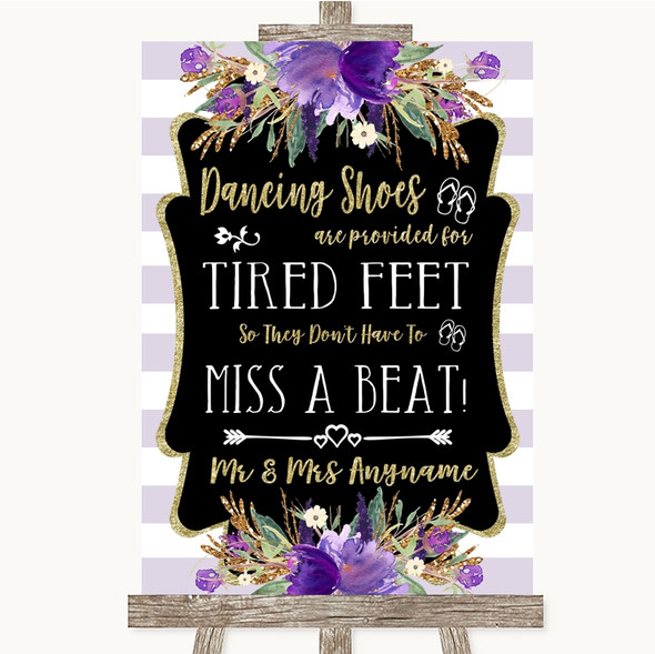 Gold & Purple Stripes Dancing Shoes Flip-Flop Tired Feet Wedding Sign