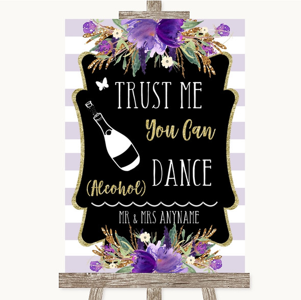 Gold & Purple Stripes Alcohol Says You Can Dance Personalised Wedding Sign