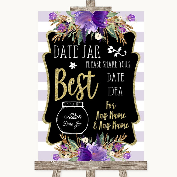Gold & Purple Stripes Date Jar Guestbook Personalised Wedding Sign